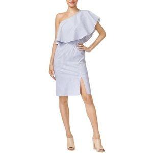 Bar III One Shoulder Striped Ruffle Dress NWT